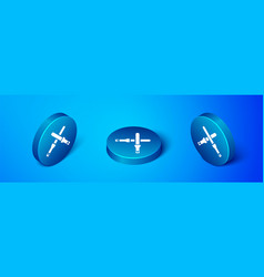 Isometric marshalling wands for aircraft icon vector