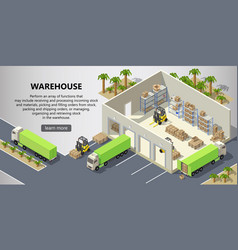 isometric warehouse delivery service vector image