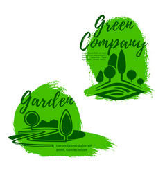 landscape design studio emblem set with green tree vector image