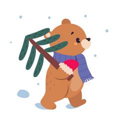 lovely bear carrying spruce tree xmas animal vector image