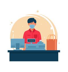 Male employee cashier vector
