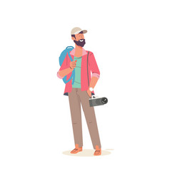 man photographer with big backpack and camera vector image