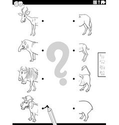 Match halves wild animals pictures coloring vector