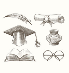 Medieval high school education accessories set vector