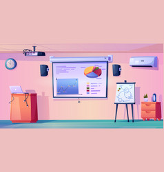 Modern classroom interior design projector board vector