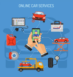 Online car service and maintenance concept vector