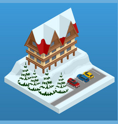 online hotel booking mountain ski resort with vector image