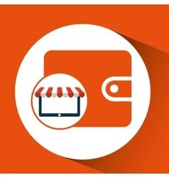 Online shop save money wallet design icon vector