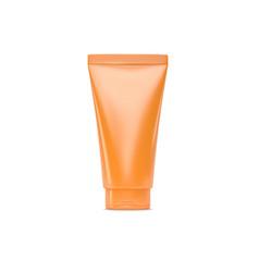 orange plastic cream tube on white background vector image