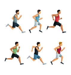 people running icons vector image