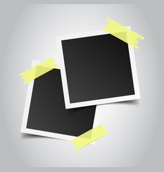 photo frame with adhesive tape on gray background vector image