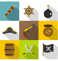 Pirate icon set flat style vector