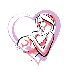 Pregnant woman graceful body outline surrounded vector