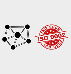 relations icon and distress iso 9002 seal vector image
