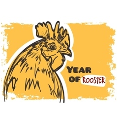 rooster art Symbol of year 2017 on grunge vector image