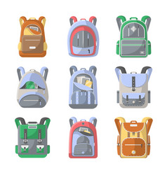 school backpack icon set vector image