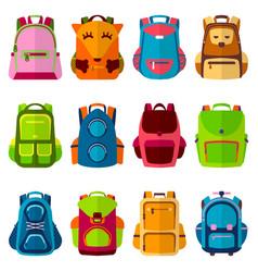 School kids backpack back to vector