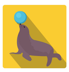 Sea lion with a ball circus icon flat style with vector