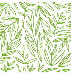 seamless pattern with hand drawn green branches vector image