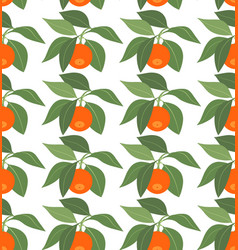 seamless pattern with tangerines and leaves vector image