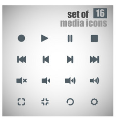 set of 16 multimedia icons vector image