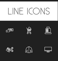 set of 6 editable business icons includes symbols vector image