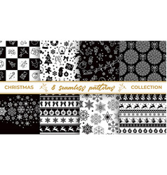 set of christmas seamless black and white patterns vector image