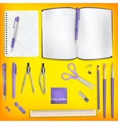 Set of Colored school supplies background EPS 10 vector image