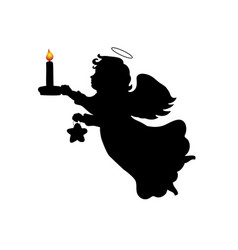 silhouette christmas angel candle star vector image
