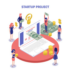 Startup donations isometric composition vector