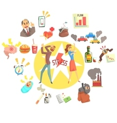 Stressed man and woman surrounded with different vector
