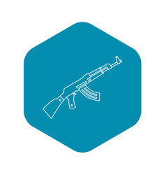 submachine gun icon outline style vector image