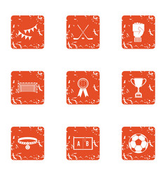 Team win icons set grunge style vector