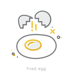 Thin line icons Fried egg vector image vector image
