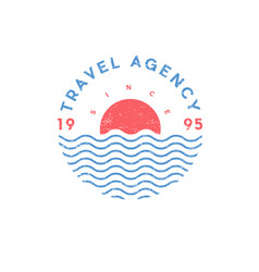 travel agency logo tourism sea sun vector image
