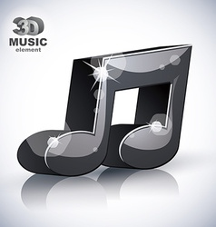 Trendy musical note 3d modern style icon isolated vector