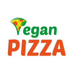 vegan pizza logo vector image