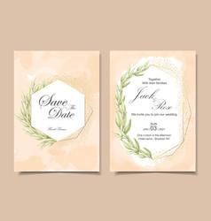 vintage wedding invitation cards with watercolor vector image