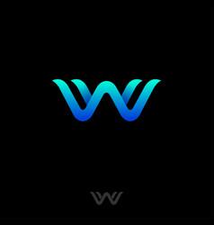 w logo waves monogram symbol sea web icon vector image