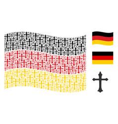 waving german flag collage of christian cross vector image