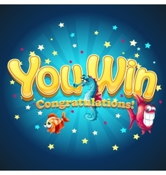 Winner window with fish in depths vector image