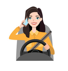 Woman driving a car talking on the phone vector