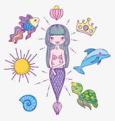 woman mermaid with tropical sea animals vector image