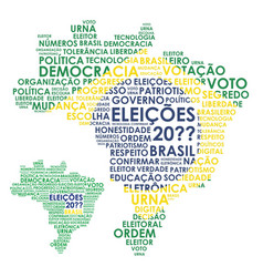 Word brazil map for elections vector