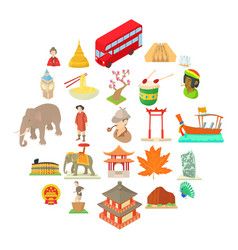 World habits icons set cartoon style vector