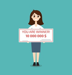 You are winner winner man holding check vector