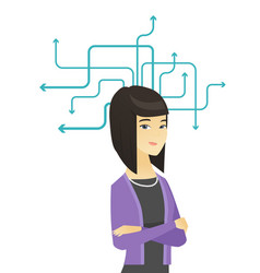 Young asian business woman thinking vector
