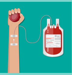 blood bag and hand of donor vector image vector image