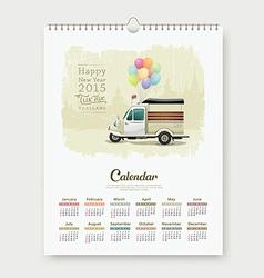 Calendar 2015 happy new year tuk tuk thailand vector image