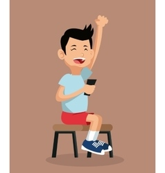 happy boy playing video game sitting on chair vector image vector image